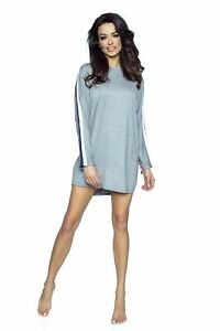 Grey Long Sleeved Nightshirt With Tape Side Stripes For Ladies PIGEON