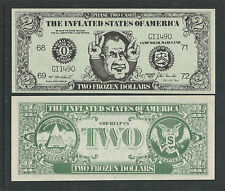 1972 RICHARD M NIXON SATIRICAL $2 DOLLAR BILL TWO FROZEN DOLLARS UNCIRCULATED