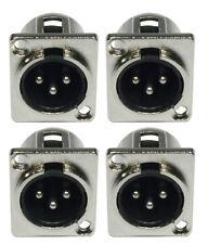 4 x XLR Einbaubuchse male 3-pol D-Typ Einbaukupplung Stecker-Buchse 3 pol D-Form