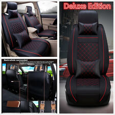 Size M Car 5-Seats PU Leather Seat Cover Front+Rear Neck Lumbar Pillows Set us