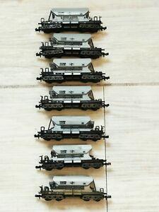 N Gauge wagons. Minitrix. British Rail Euro Style Hoppers X7. Trix. 9mm scale.