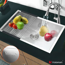 Voilamart Stainless Steel Kitchen Catering Sink Single Bowl Unit With Roll Mat