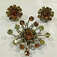 Vintage Brooch Earrings Rhinestone Orange Green Demi Set Estate Costume Jewelry