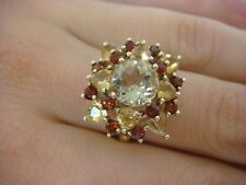 10K YELLOW GOLD CITRINE AND GARNETS LADIES COCKTAIL RING 4.2 GRAMS