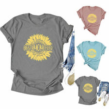 Women Best Mom Ever Sunflower Top Tee Letters Casual Trendy Blouse T-Shirt