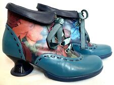 John Fluevog Investigator Ankle Bootie Teal Leather W/ Red Rose Size 6 Excellent