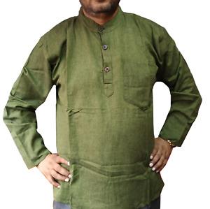 Green Plain Grandad Cotton Kurta Shirt Men's Long Sleeve with Flat Buttons