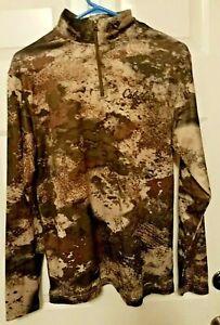 Cabela's Octane O2  Camo Shirt Long Sleeve 1/4 Zip Men's Small 100% Polyester