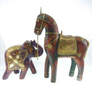 2pc Set Inlaid Horse Asian Elephant Figurines Wood Brass India