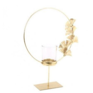 Round Gold Lotus Flower Candle Holder Tealight Home Decor *Fast P&P*