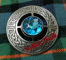 "Scottish Kilt Fly Plaid Brooch Sky Blue Silver Antique 3"" Ladies Shawl Brooches"