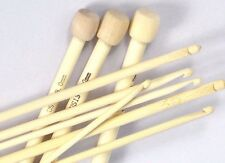 Set of 9 Bamboo Afghan Tunisian Crochet Hooks each hook 30cm long 4 - 10mm