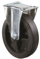 Bockrolle D.125mm Trgf.150kg Elastic-Vollgummireifen Platte 115x85mm