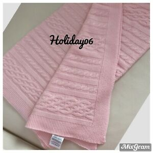 Laura Ashley BNWOT Pink Cable Knit Throw Blanket Bedspread