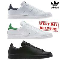 ✅ New Adidas Originals Stand Smith Mens Leather White Black Casual Trainer Shoes