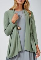 MarlaWynne Luxe Crepe Side Drape Pocket Cardigan, Size 2XL, Basil, BNWT