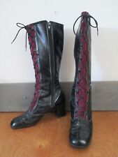 60's Victorian/ Steampunk/ Mod/ Go-Go Boots- Patent/ Suede 40 (fits like 5/ 5.5)