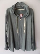 Maurices Womens Plus 3 Full Zip LtWt Hoodie Sweatshirt Ruched Sides Poly Stretch