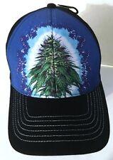 Marijuana Weed Cannabis Leaf Herbs Sublimated Hat Cap Blue Black Adjustable