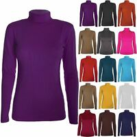 New Womens Ladies Hi Turtle Polo Neck Plain Stretch Long Sleeves Top T Tee Shirt