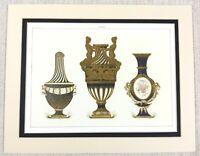 1988 Vintage Stampa Antico Francese Porcellana Urna Vaso Cobalto Blu Dorato