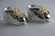 Baby zapatos plateado, diente lata + rizos lata de con 2 X gratis grabado taufgeschenk