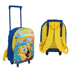Toddler Kids Spongebob SquarePants Preschool Rolling Trolley Wheels Backpack Bag