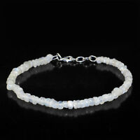 """43.50 Cts Natural Blue Flash Moonstone 8"""" Inches Long Untreated Beads Bracelet"""
