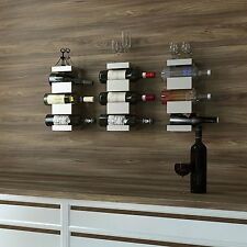Wall Hanging Wine 3 Bottles Rack Storage Holder Wood Metal Rustic Kitchen Decor