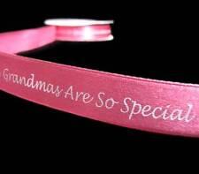 "5 Yds Grandmas Are So Special Scrapbooking Pink Satin Ribbon 5/8""W"