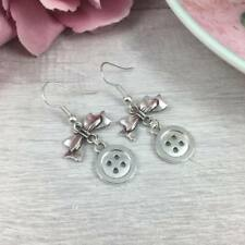 STERLING Silver BUTTON & Bow EARRINGS Drop, Dangle, Hook SEWING Kitsch CRAFTER