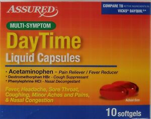 Daytime Multi-Symptom Cold Flu Fever Relief Capsules 10 Softgels
