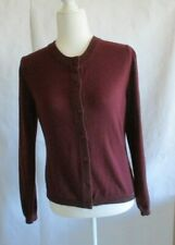 Apostrophe Women's Long Sleeve Burgundy Button Front Sweater Size S