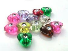 40 x 8mm Acrylic Heart Beads Mix Bead Jewellery Beading Craft FREE UK P+P i54