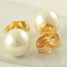 Women's 24K Real Gold Filled 8mm Big Pearl Stud Earrings korean Style earings