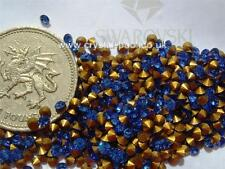 48 X Swarovski 8ss / 17pp Aquamarine Gold-foiled #1012 Chatons