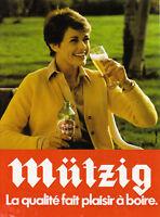 Publicité ancienne bière Mützig à la campagne 1982 issue de magazine