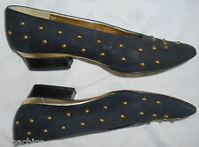 Escada Vintage Low Heels Shoes Black Suede Leather Gold Studs 7 37 B HapaChico