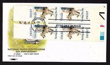 #1787 15c Seeing Eye Dogs- 4 Plate # 39037 tab singles on Softone FDC