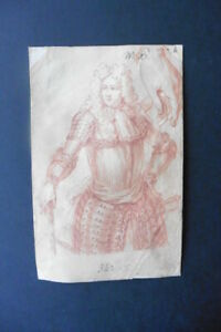 FRENCH SCHOOL 18thC - SUPERB PORTRAIT ARISTOCRAT STUDIO RIGAUD - RED CHALK