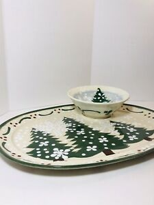 RARE Expressly Yours Christmas  Serving Plate Platter with Bowl 2002 Signed