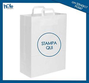 Shopper Buste di Carta Personalizzate BIANCA con Logo Sacchetti Promozionali