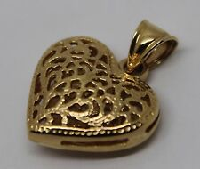 New 9ct Yellow Gold Medium Filigree Heart Pendant * FREE EXPRESS POST IN OZ