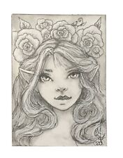 """ACEO Art Print Charcoal Drawing /""""Wizard/"""" Fantasy Medieval"""