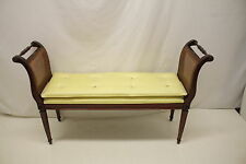 French Louis XVI Neoclassical Mahogany Bench W/ Caned Side Arm rests, c.1920s's