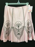 "Heart Soul peplum skirt Size 7 pink black embroidered NEW 32"" waist flare"