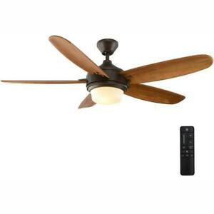 Home Decorators Breezemore 56 in. LED Indoor Mediterranean Bronze Ceiling Fan