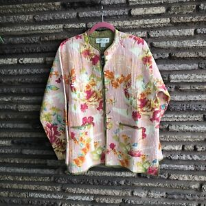Orvis NWT Hand Crafted Pink Floral Quilted Trapunto Chore Field Jacket Large