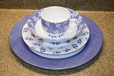 Vintage ARCOPAL France- 4 pc. Setting BLUE & WHITE Leaf Sprig -4 SETS Available