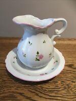 Vintage M&S Jug And Washbowl Set. Pink Rose Design. M&S